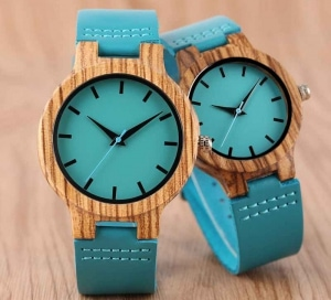 Luxury Royal Blue Wood Watch Top Quartz